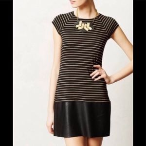 Bailey 44 Stripe Cap Sleeve Dress Faux Leather M